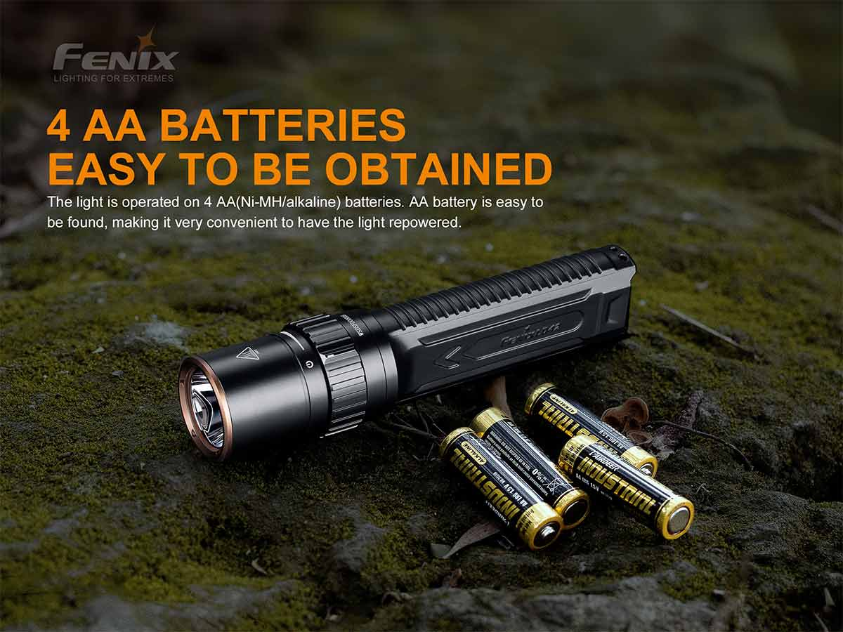 fenix manufacturer slide, powered by 4 x aa batteries, flashlight and batteries shown on a mossy rock