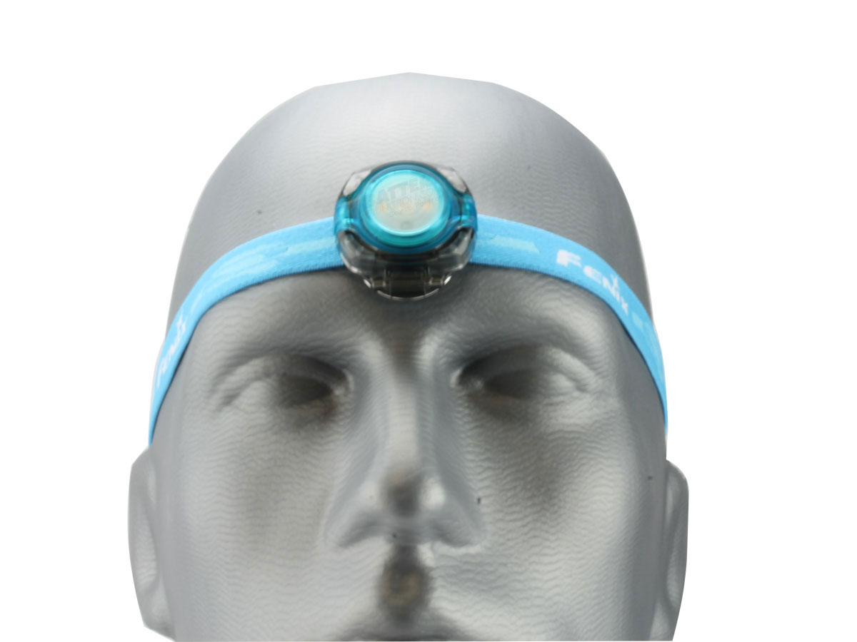 Fenix HL05 headlamp in blue front view on head