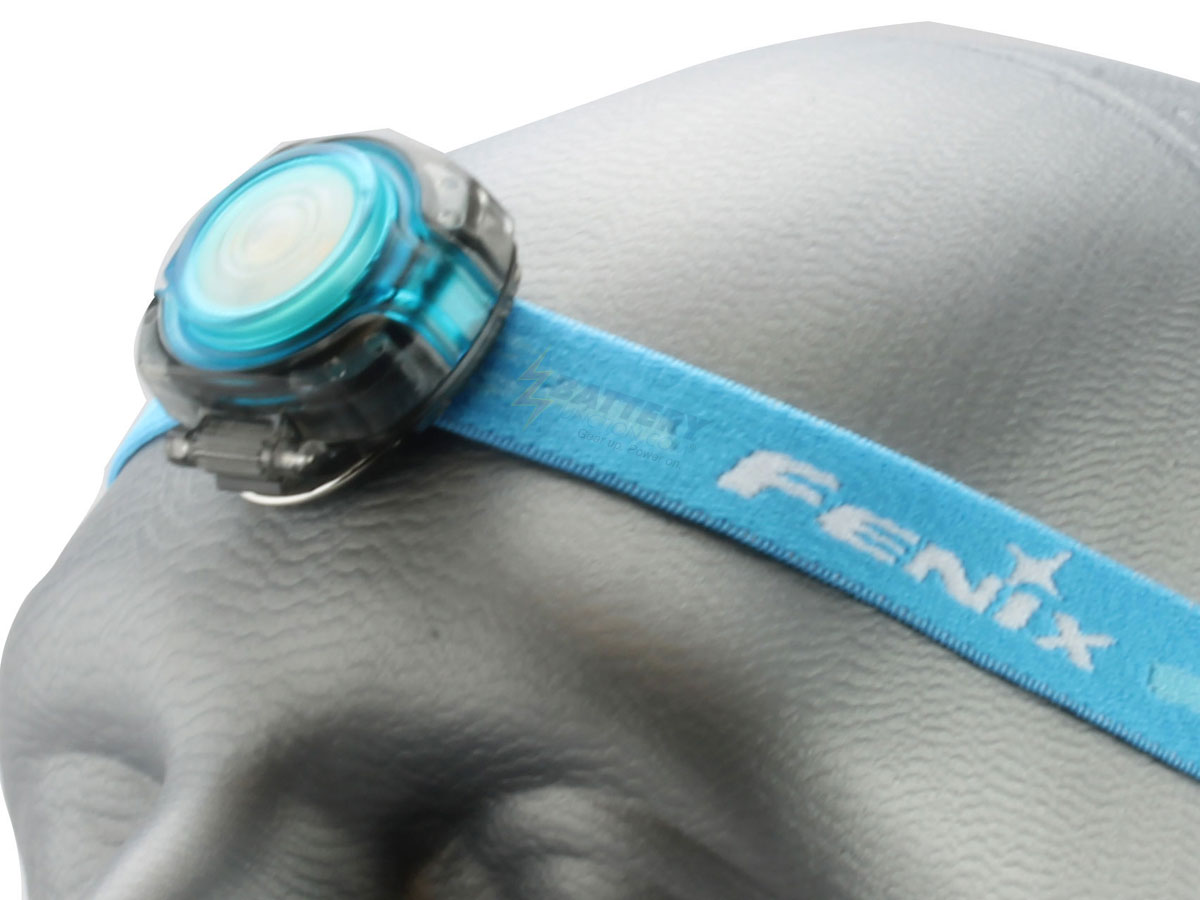 Fenix HL05 headlamp in blue left side angle on head