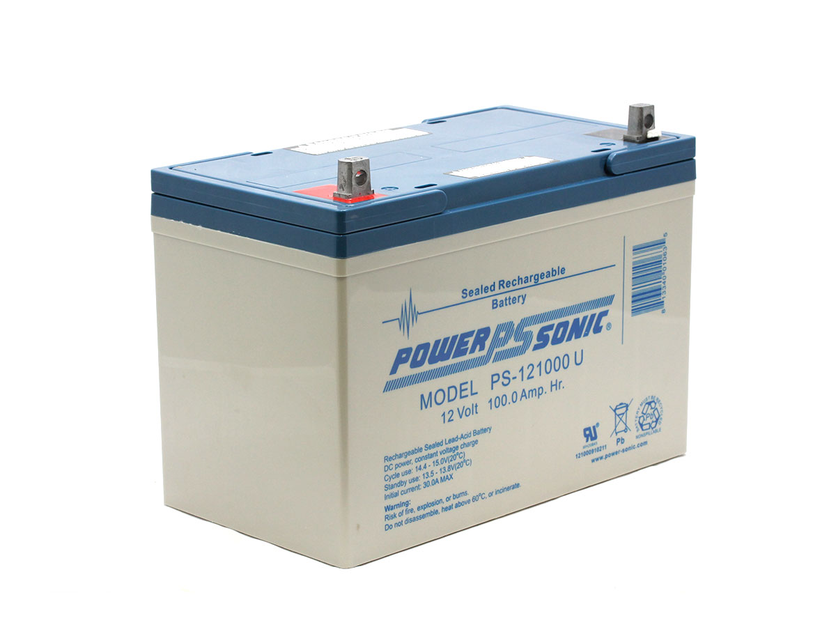 Angled view of Powersonic-PS-121000-U sealed lead acid battery