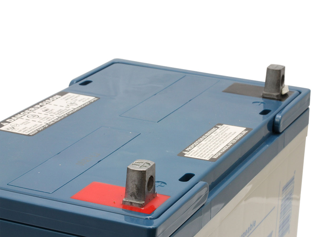 Picture of the Powersonic-PS-121000-U sealed lead acid battery terminals