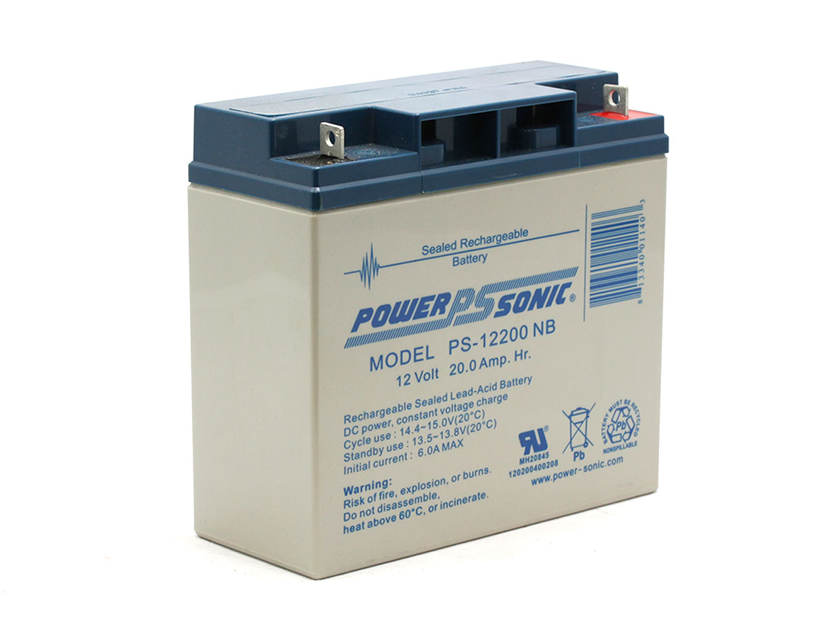 Angled picture of Powersonic PS-12200 lead acid battery