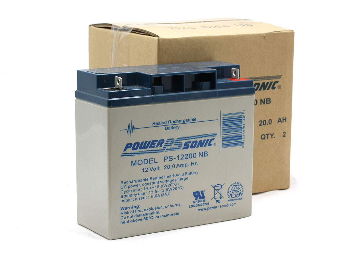 Picture of Powersonic PS-12200 lead acid battery with bulk packaging