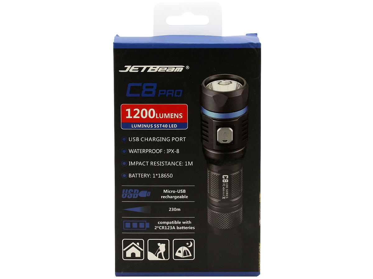 Package Shot of the JETBeam C8 Pro Outdoor Flashlight