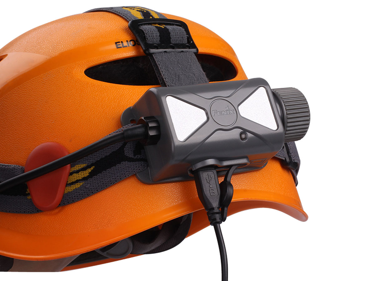 Fenix HP25R headlamp on a hard hat
