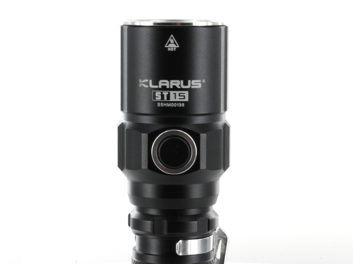 Klarus ST15 flashlight with close up of side switch