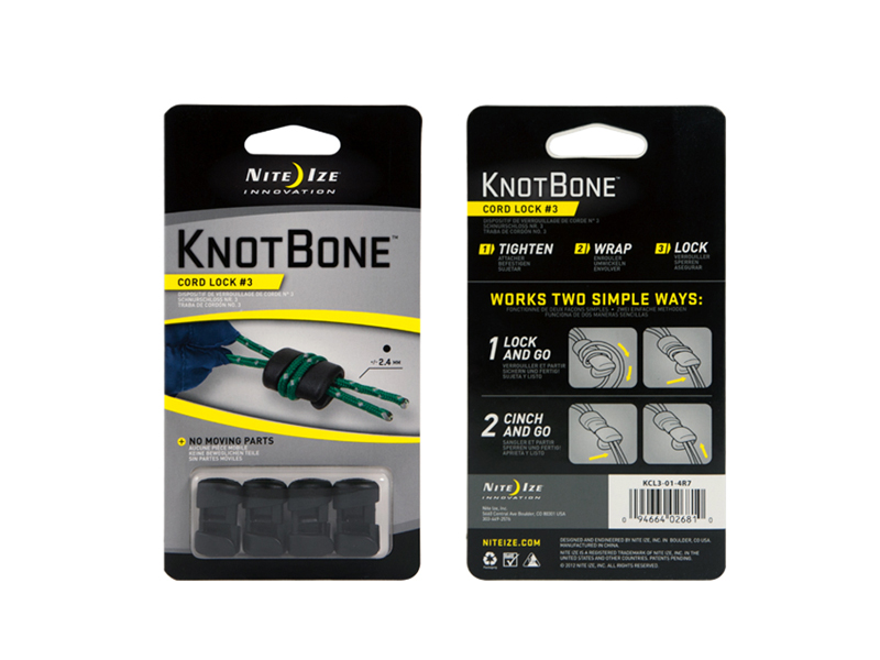 Nite Ize KnotBone Cord Lock #3 Black 4-Pack Knot-Free Light Durable Plastic