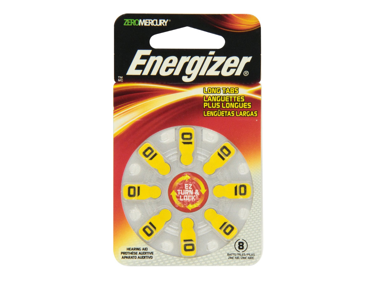 Energizer AZ10 Zinc Air Yellow hearing aid batteries in 8 count blister pack