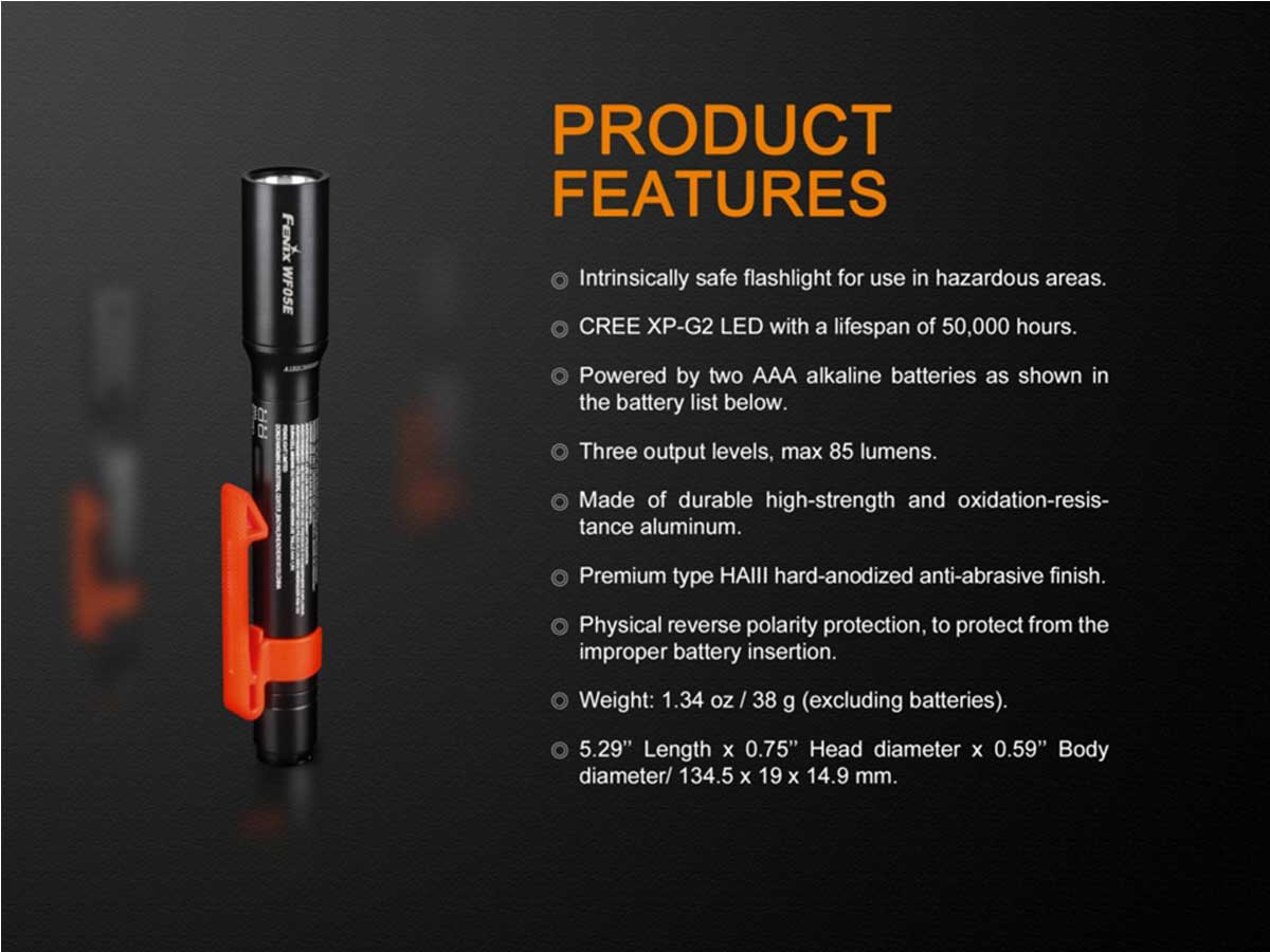 Fenix WF05E product features list