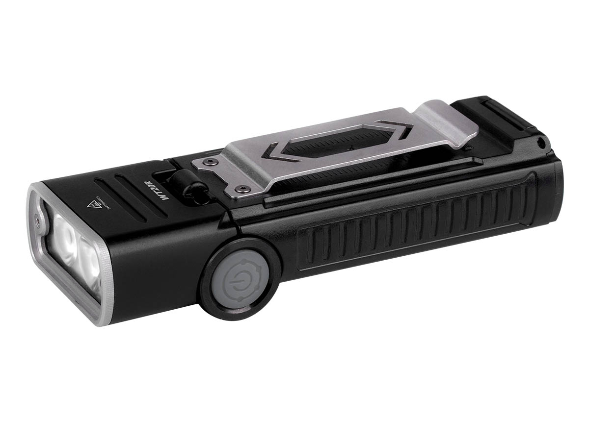 Fenix WT20R flashlight side profile at left side angle