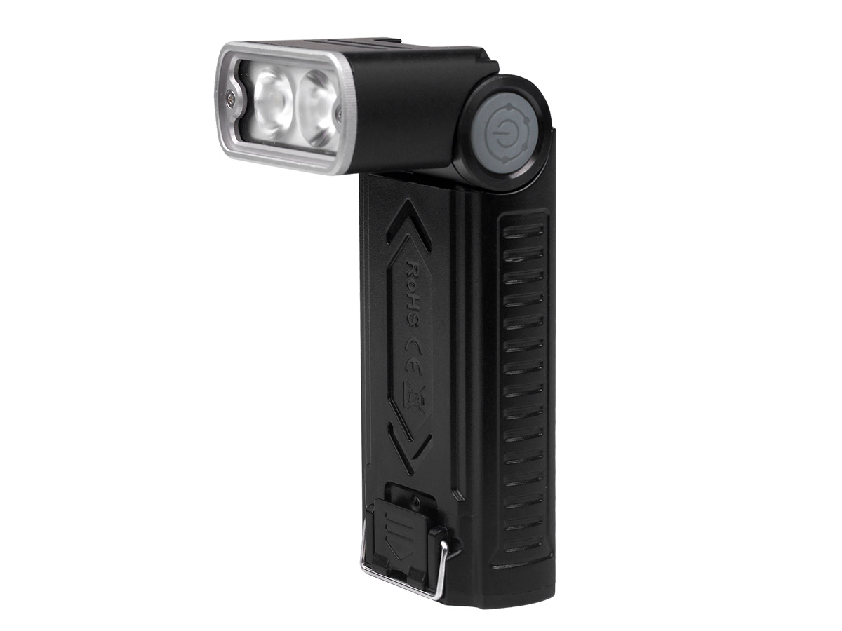 Fenix WT20R flashlight upright with head at 90 degree angle