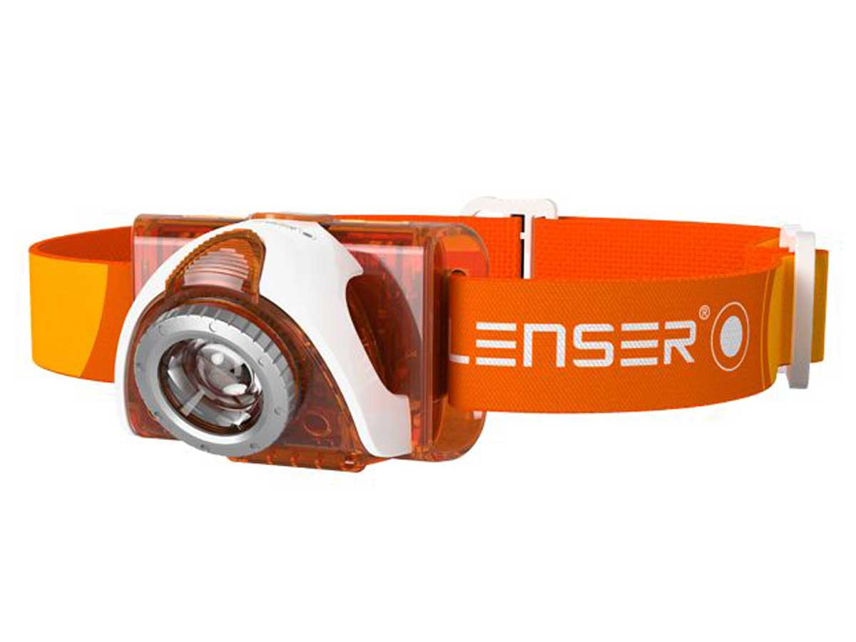 Orange angled LED headlamp with a headband