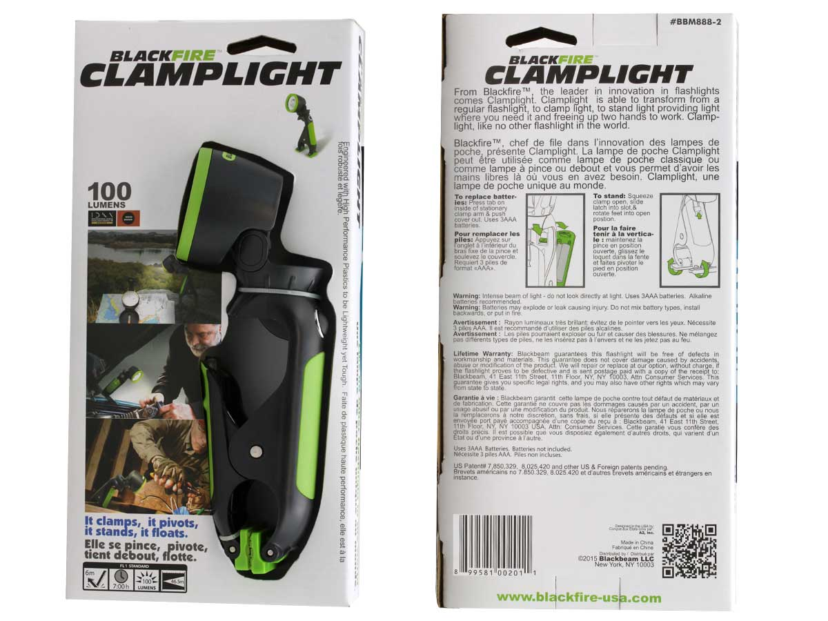 Blackfire LED clamplight packaging