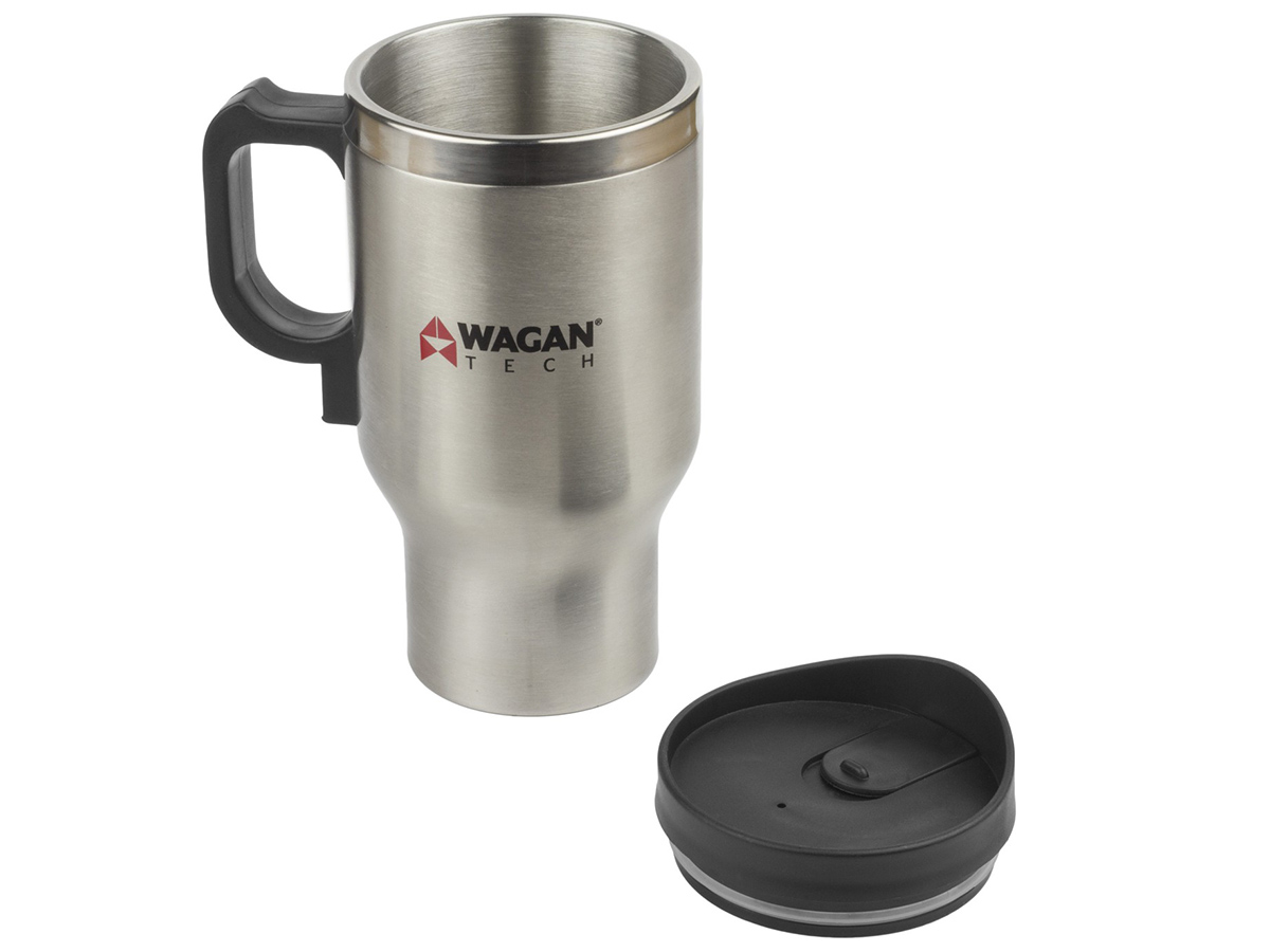 12V Double Wall Stainless Steel Travel Mug with cap in the foreground