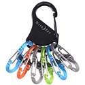 Nite Ize KeyRack Locker - Stainless Steel Carabiner with 6 x Polycarbonate S-Biner MicroLock Carabiner Clips - Black with Colorful Clips (KLKP-01-R3)