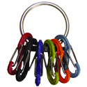 Nite Ize S-Biner KeyRing - Stainless Steel Ring with 6 x Plastic #0 S-Biner Carabiner Clips - Stainless Steel with Transparent S-biners