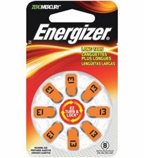 Energizer EZ Turn & Lock AZ13-DP (8PK) Size 13 280mAh 1.45V Zinc Air Orange Hearing Aid Batteries - 8 Count Blister Pack