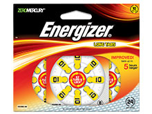 Energizer EZ Turn & Lock AZ10-DP (24PK) Size 10 91mAh 1.45V Zinc Air Yellow Hearing Aid Batteries - 24 Count Blister Pack
