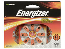 Energizer EZ Turn & Lock AZ13-DP (24PK) Size 13 280mAh 1.45V Zinc Air Orange Hearing Aid Batteries - 24 Count Blister Pack