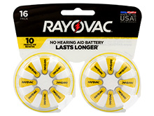 Rayovac 10-16 (16PK) Size 10 75mAh 1.45V Zinc Air Yellow Hearing Aid Batteries - 16 Piece Retail Card