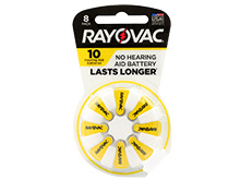 Rayovac 10-8 (8PK) Size 10 75mAh 1.45V Zinc Air Yellow Hearing Aid Batteries - 8 Piece Retail Card