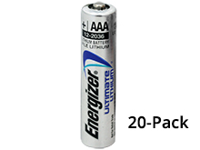 Energizer Ultimate L92 (20PK) AAA 1250mAh 1.5V High Energy 1.5A Lithium (LiFeS2) Button Top Batteries - Box of 20