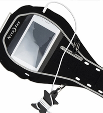 Nite Ize Action Armband for Smartphones - Includes S-Biner and Curvyman Cord Supervisor - Fits iPhone 3G/3GS/4/4S - Black (NIPB-08-01)