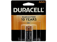Duracell Coppertop Duralock MN2400-B2 AAA LR03 1.5V Alkaline Button Top Batteries - 2 Piece Retail Card