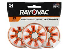 Rayovac 13-24 (24PK) Size 13 310mAh 1.45V Zinc Air Orange Hearing Aid Batteries - 24 Piece Retail Card