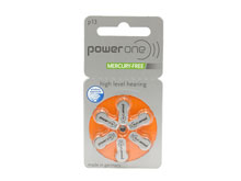 PowerOne P13-6PK-MF (6PK) Size 13 300mAh 1.45V Zinc Air Orange Hearing Aid Batteries - 6 Pack Retail Card