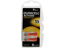 Duracell DA13-B8 (8PK) Size 13 290mAh 1.45V Zinc Air EasyTab Orange Hearing Aid Batteries - 8 Piece Retail Card