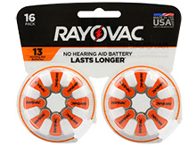Rayovac 13-16 (16PK) Size 13 310mAh 1.45V Zinc Air Orange Hearing Aid Batteries - 16 Piece Retail Card