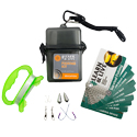 Ultimate Survival Technologies Learn and Live Fishing Kit Combo - Pairs Pocket Guide with Hooks, Line Winder, Swivels and Weights (20-02765)