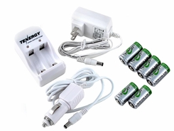 Tenergy 2-Bay Smart Charger + 6 pcs RCR123A 3.0V 400mAh LiFePO4 Rechargeable Batteries (30270)
