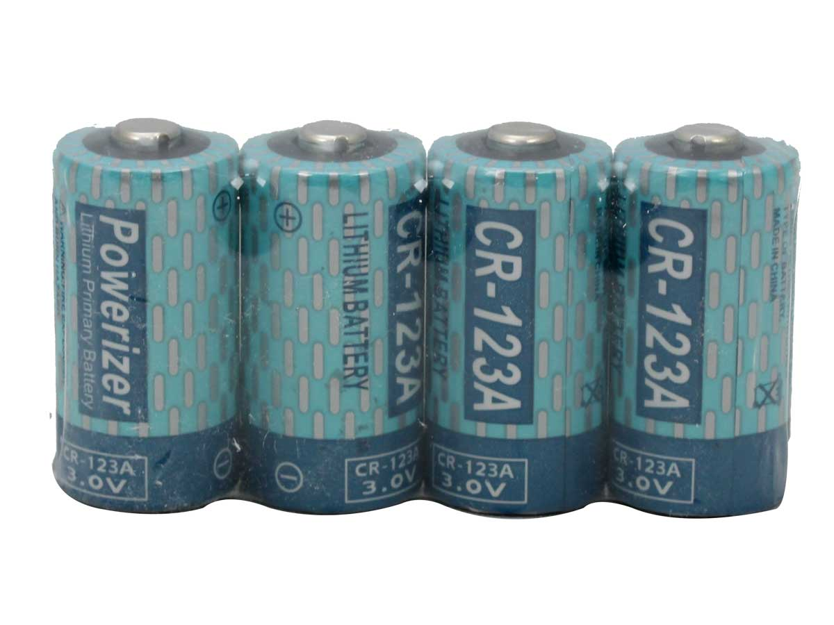 4 Powerizer CR123A batteries side by side