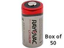 Rayovac RL CR123A (50PK) 1400mAh 3.0V Lithium Primary (LiMNO2) Button Top Photo Batteries - Box of 50