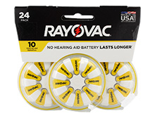 Rayovac 10-24 (24PK) Size 10 75mAh 1.45V Zinc Air Yellow Hearing Aid Batteries - 24 Piece Retail Card