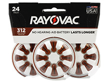 Rayovac 312-24 (24PK) Size 312 180mAh 1.45V Zinc Air Brown Hearing Aid Batteries - 24 Piece Retail Card