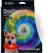 Nite Ize Flashflight Dog Discuit LED Flying Disc - Includes 2 x CR2016s - Disc-o (FFDD-07-R8)