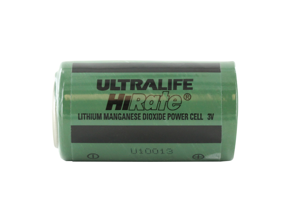 Ultralife U10013 D-cell Lithium Primary Unprotected Transmitter Battery sitting horizontally