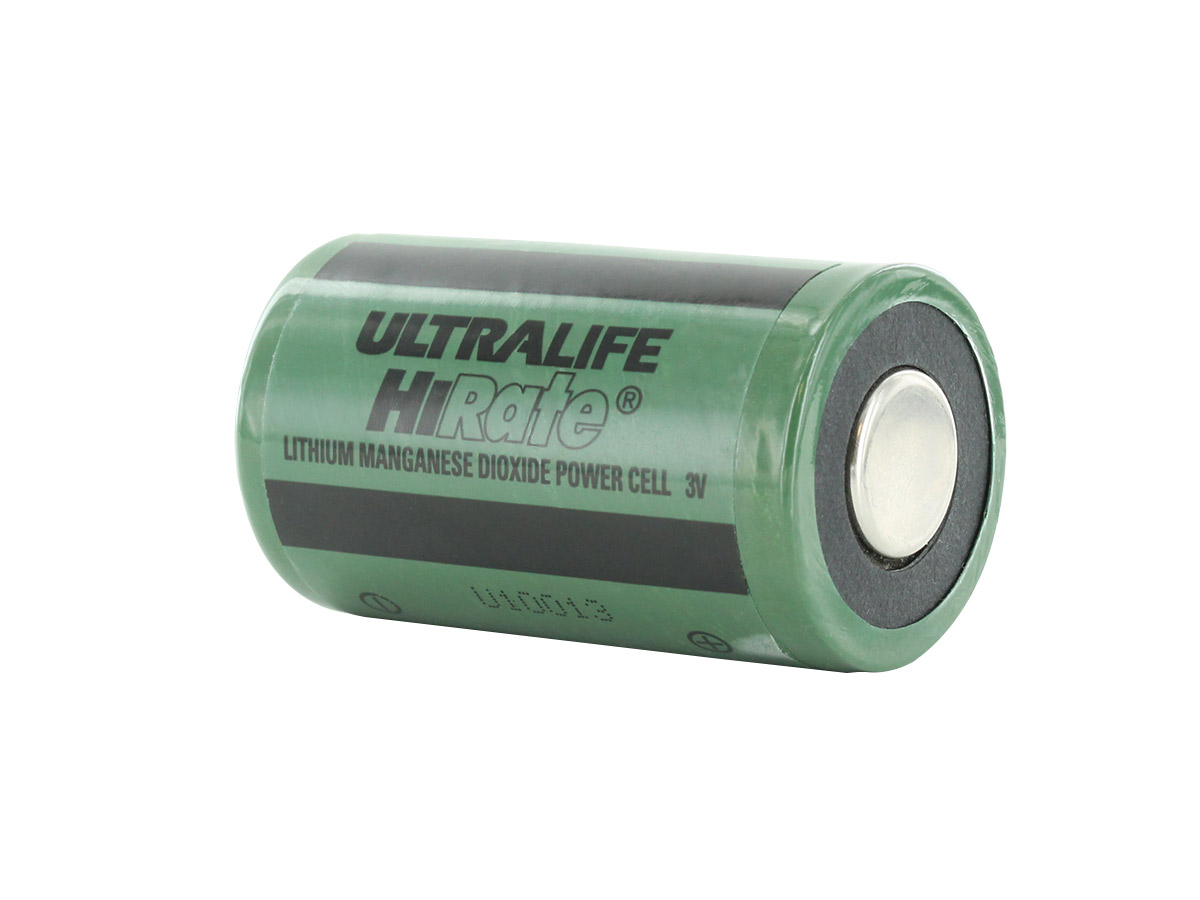 Ultralife U10013 D-cell Lithium Primary Unprotected Transmitter Battery sitting horizontally, at an angle showing the positive side