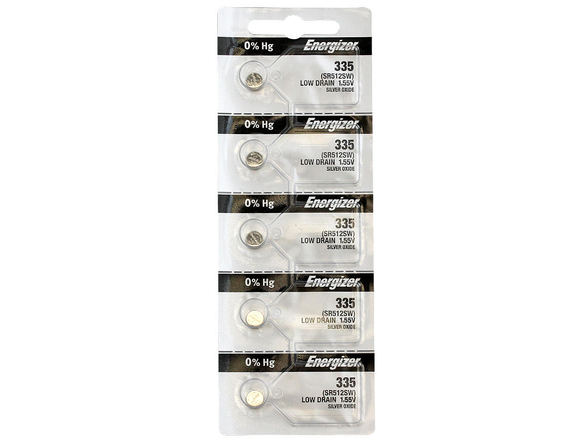 Set of 5 Energizer 335 coin cells in tear strip packaging