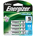 Energizer Recharge NH12-BP-4 AAA 800mAh 1.2V Nickel Metal Hydride (NiMH) Button Top Batteries - 4 Pack Retail Card