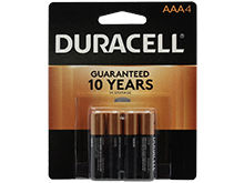 Duracell Coppertop Duralock MN2400-B4 AAA LR03 1.5V Alkaline Button Top Batteries - 4 Piece Retail Card