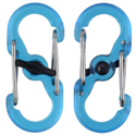 Nite Ize S-Biner MicroLock - Plastic Double-Gated Carabiner with Twisting Lock - 2 Pack - Translucent Blue, Lime, or Orange