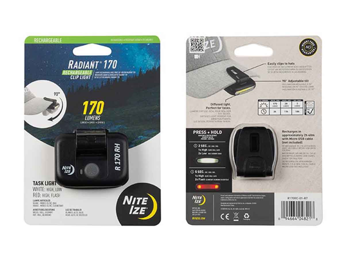 Radiant 170 clip light front and back packaging