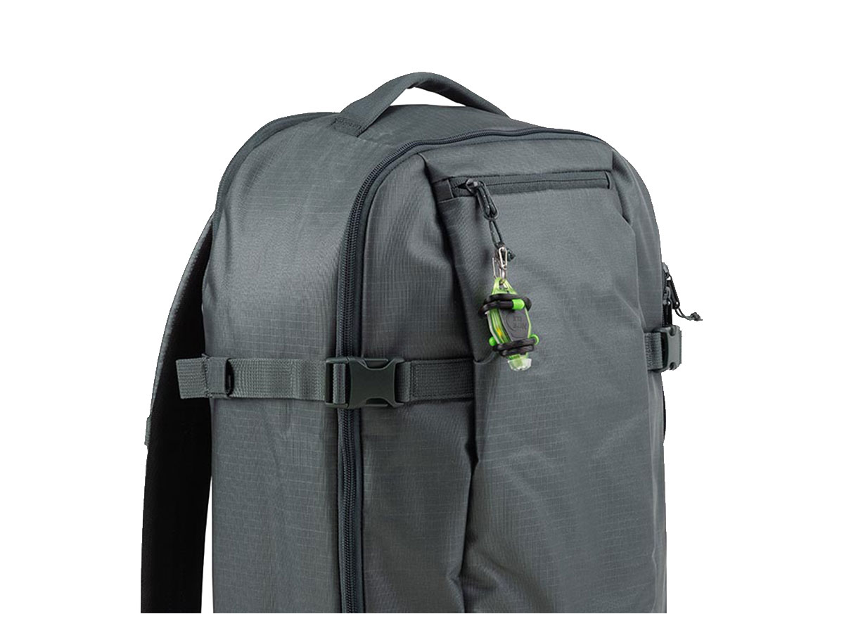 green buglit rechargeable on backpack