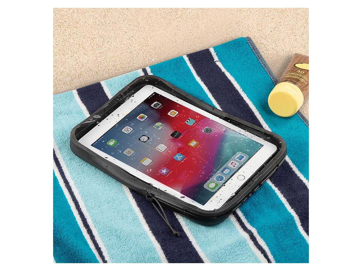 tablet case being used on a beach