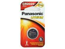 Panasonic CR2025 165mAh 3V Lithium (LiMnO2) Coin Cell Battery - 1 Piece Narrow Size Carded Packaging
