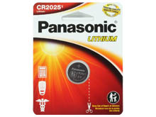 Panasonic CR2025 165mAh 3V Lithium (LiMnO2) Coin Cell Battery - 1 Piece Standard Size Carded Packaging